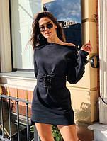 Теплое женское платье-толстовка