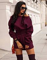 Теплое женское платье на флисе бордо