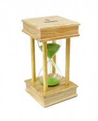 Песочные часы 5 минут на квадратной деревянной подставке зеленый песок