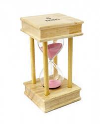 Песочные часы 5 минут на квадратной деревянной подставке розовый песок