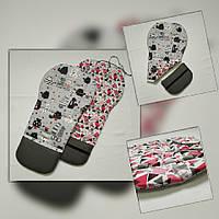 Матрасик вкладка в коляску универсальный двусторонний masterwork cat 50/34*87 см. серый с красным