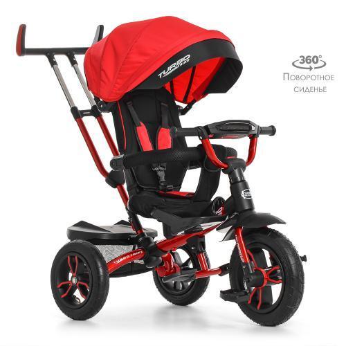 Детский трехколесный велосипед-коляска с поворотным сиденьем TurboTrike M 4058-1 красный