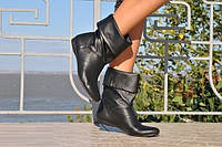 Полусапожки черные короткие из натуральной кожи . Арт-0244, фото 1