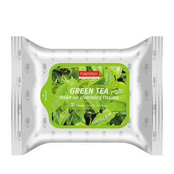 Очищаючі серветки для зняття макіяжу Зелений чай PUREDERM Make-up Cleansing Tissues Green Tea 30 шт