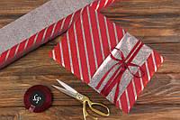 Папір пакувальна Смужки срібло металік двостороння червона 70х50 см