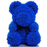 Мишка из 3D роз высотой 40см Синий
