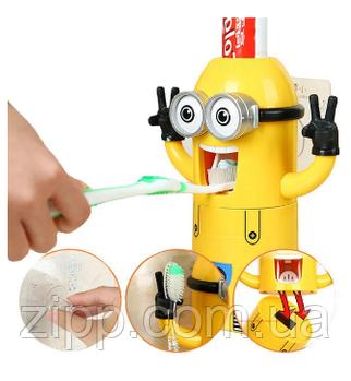 Автоматичний дозатор зубної пасти з тримачем для щіток (міньйон)