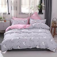 Комплект постельного белья Котенок и клубок, серый (двуспальный-евро) Berni