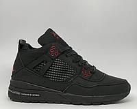Ботинки мужские зимние кроссовки Jordan NM Split 16155 черные с красным реплика