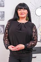 Блуза с гипюром размер плюс Беатрис черный (50-64)