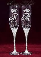 Свадебные бокалы с инициалами и коронами в стразах (Стелла), фото 1