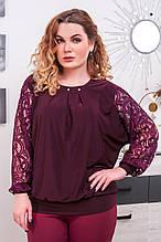 Блуза с гипюром размер плюс Беатрис бордовый (50-64)
