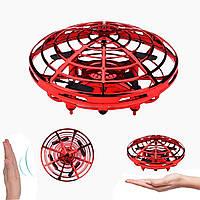 Дрон ручной летающий беспилотник для начинающих с предотвращением препятствий для детей Airset красный 154443