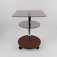 Стеклянный журнальный столик на колесиках квадратный Commus Bravo Light400 Kv6 bronza-dubgold-chr50
