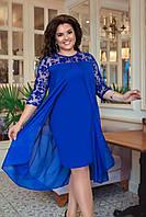 Женское красивое платье с шифоновой накидкой и рукавами из сетки с велюровым узором батал