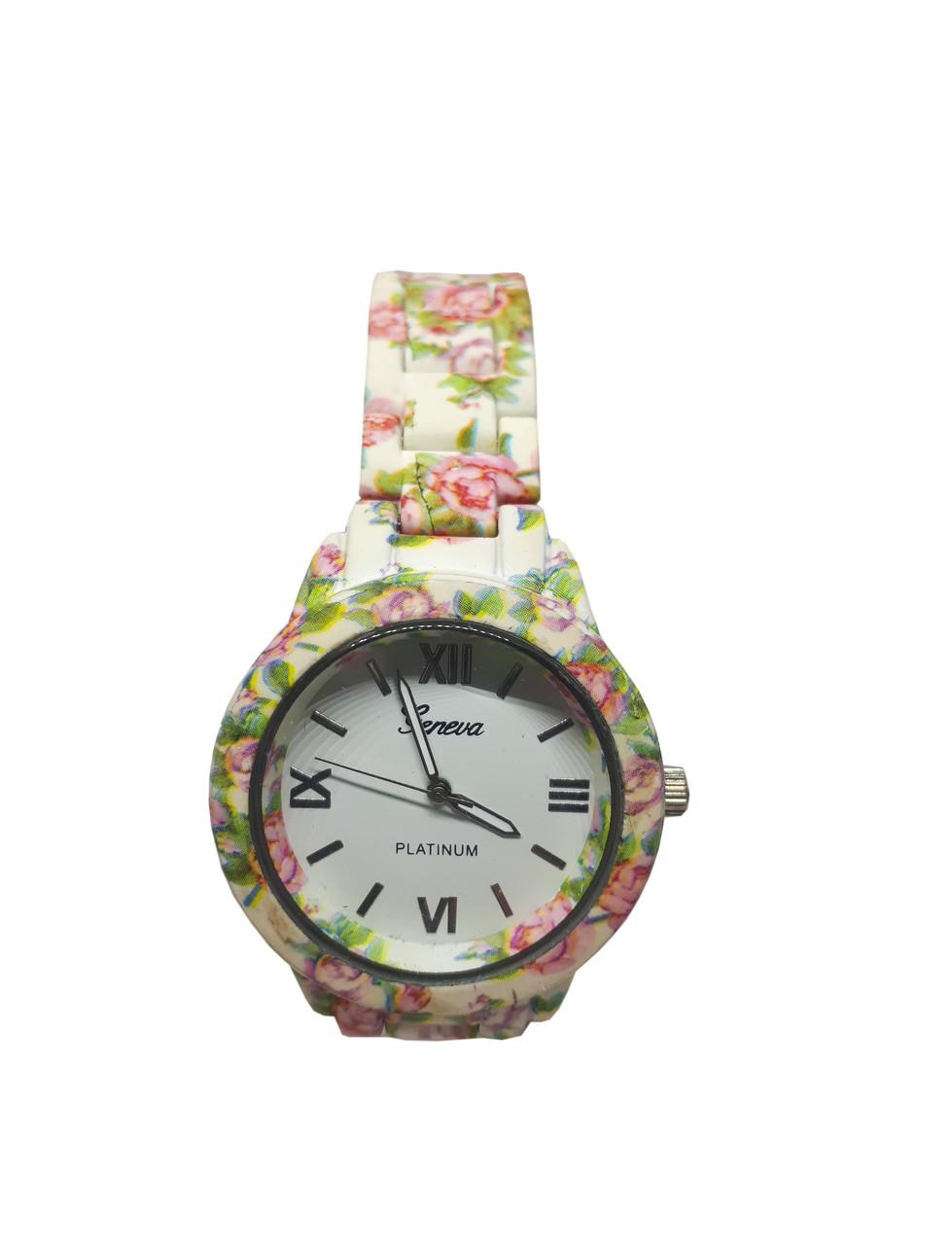 Женские часы  Geneva Flower PN308 на браслете под керамику.