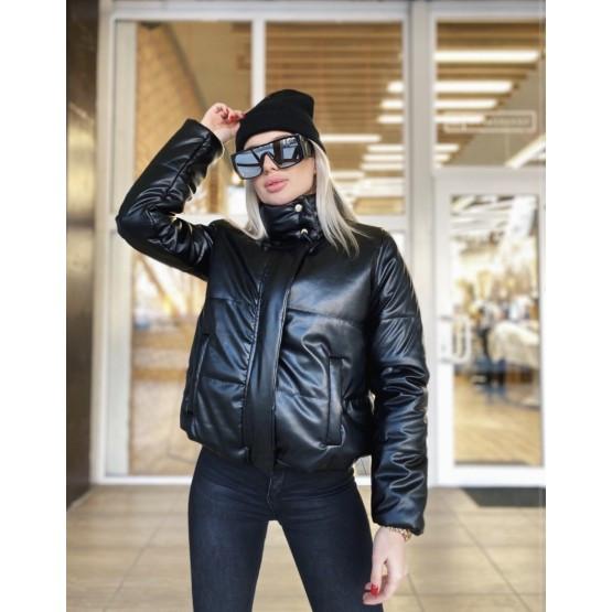 Женская куртка кожаная косуха дутая черный и коричневый