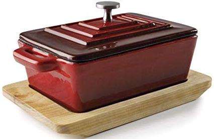"Кастрюля с крышкой ""Magma grey & red"" 13х9х4.5см/300мл чугунная на деревянной подставке Lacor"