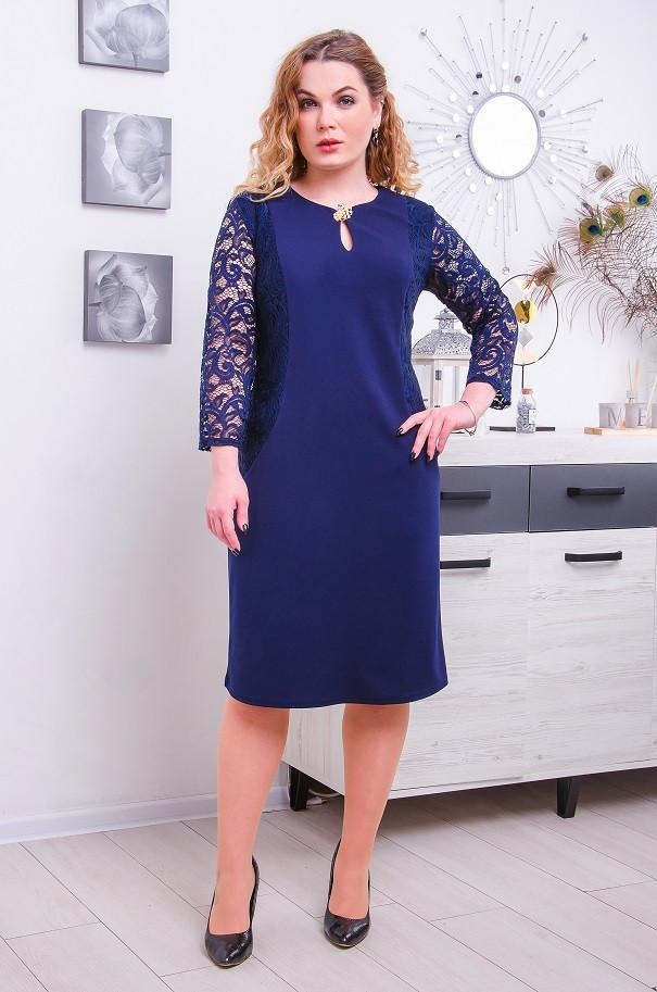 Нарядное платье с гипюром Афродита 4 цвета (52-62)