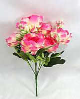 Яскраво рожевий букет міні-півоній 29см,штучний кущ для декору інтер'єру, фото 1