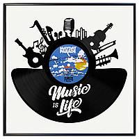 Настенный Декор Music Is Life, Пластинка в Рамке, Хенд Мейд Декор