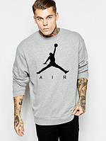 Спортивная кофта Джордан, Мужская кофта Jordan, светло серая, меланж, трикотажная, реглан, свитшот