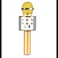 Детский беспроводной портативный микрофон для караоке + Колонка Wster WS858 Original Rose Gold с изменением голоса и русской инструкцией
