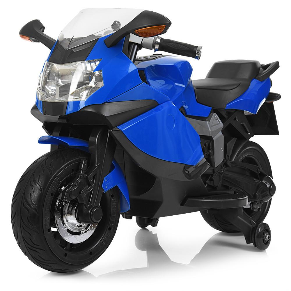 Детский мотоцикл BMW с кожаным сиденьем M 3636EL-4 синий