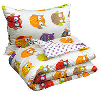 Одеяло + Подушка полуторное 140x205 Сатин 100% Хлопок 200г/м2 Руно 924.137Сови