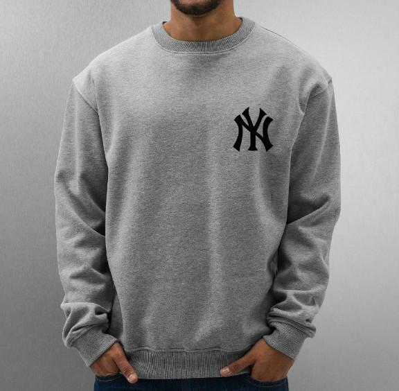 Спортивна кофта Нью Йорк, чоловіча кофта New York, світло сіра, меланж, трикотажна, реглан, світшот