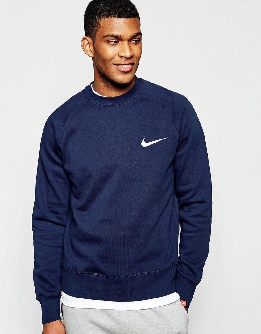 Спортивная кофта Найк, Мужская кофта Nike, темно-синяя, трикотажная, реглан, свитшот