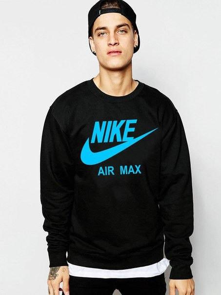 Спортивна кофта Найк, Чоловіча кофта Nike Air Max, чорна, трикотажна, реглан, світшот