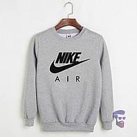 Спортивная кофта Найк, Мужская кофта Nike Air, светло серая, меланж, трикотажная, реглан, свитшот