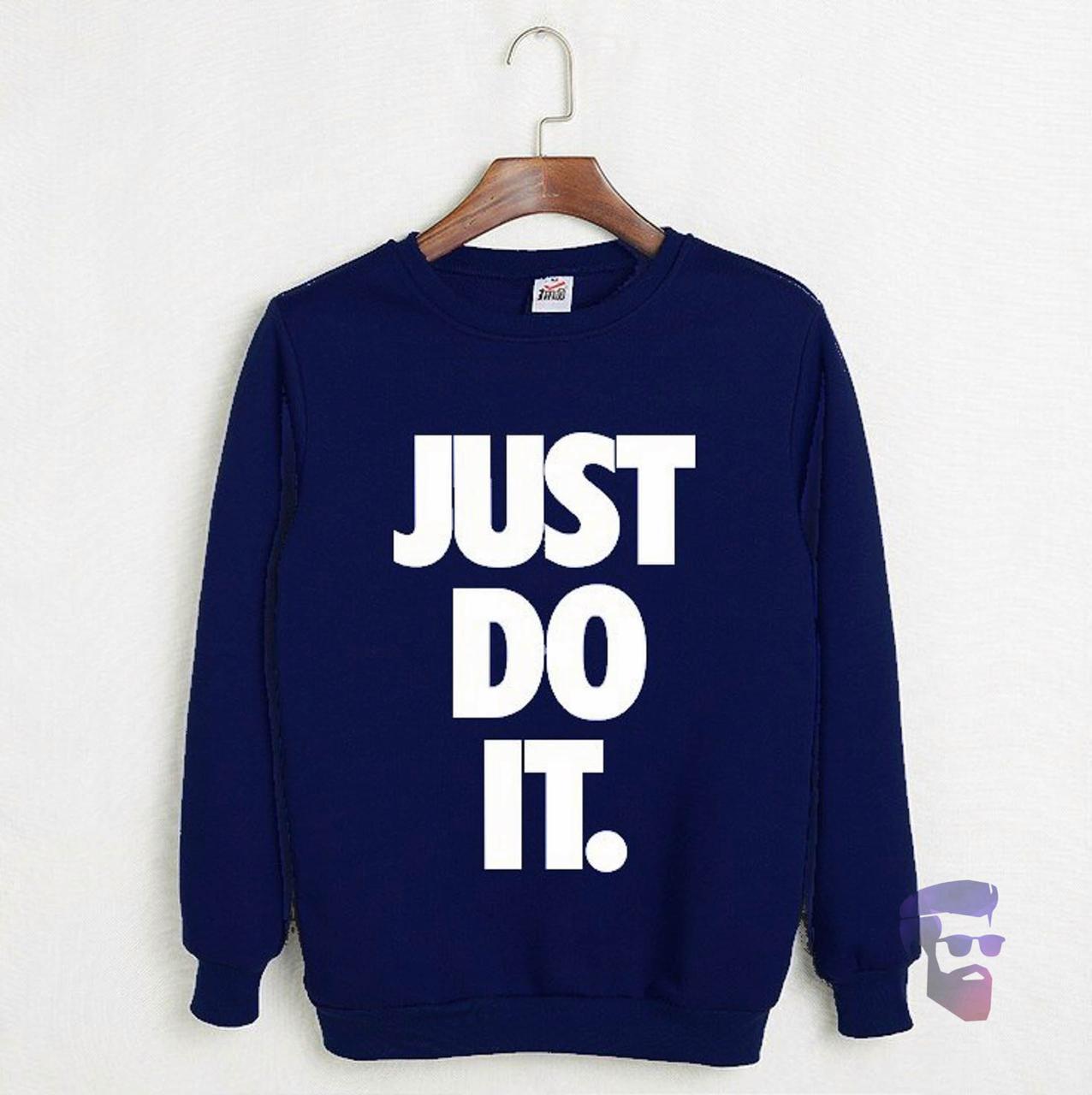 Спортивная кофта Найк, Мужская кофта Nike Just Do It, темно-синяя, трикотажная, реглан, свитшот