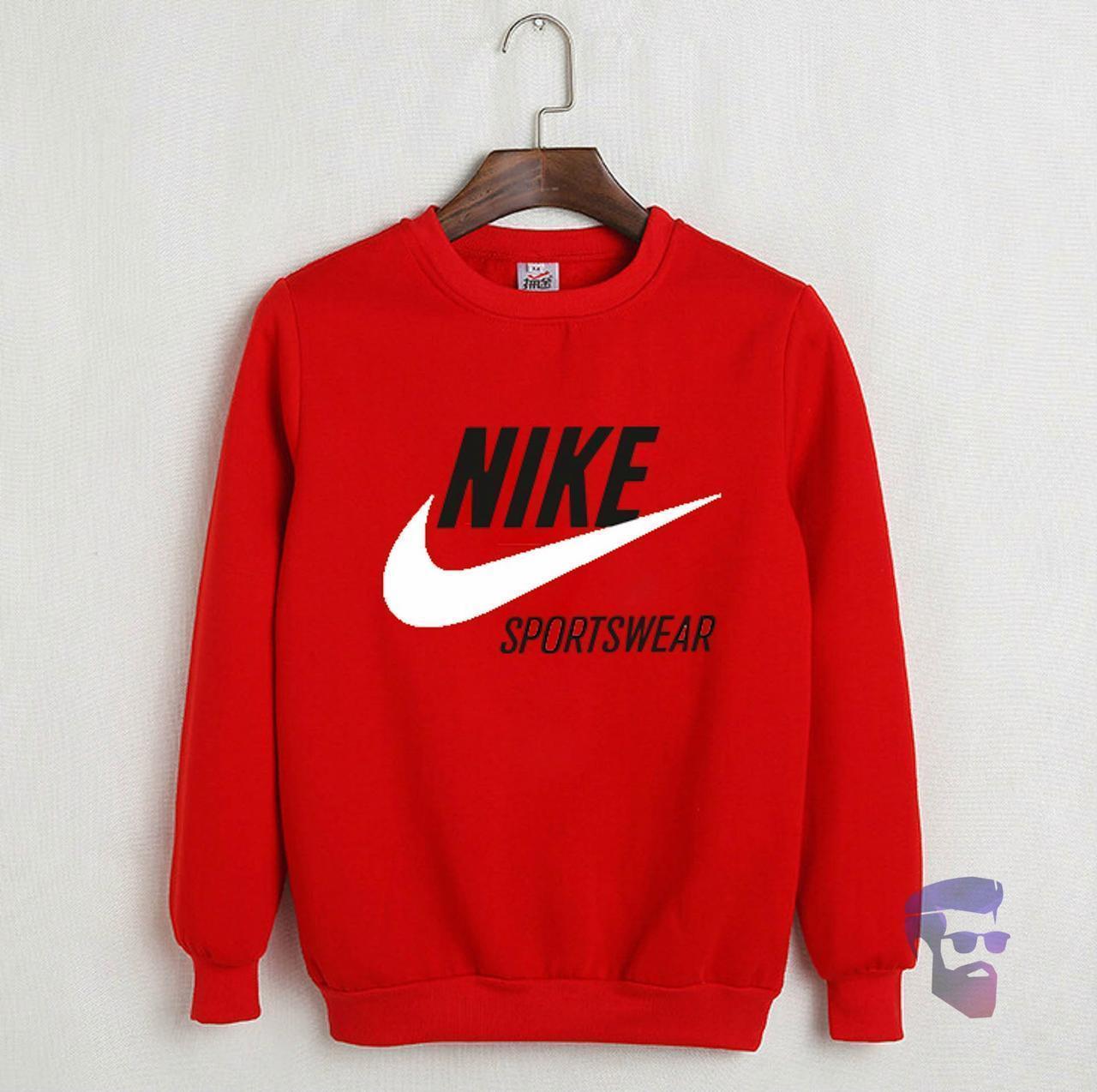 Спортивна кофта Найк, Чоловіча кофта Nike Sportswear, червона, трикотажна, реглан, світшот