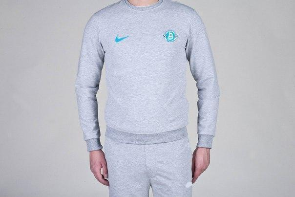 Спортивная кофта Найк, Мужская кофта Nike, светло серая, меланж, трикотажная, реглан, свитшот