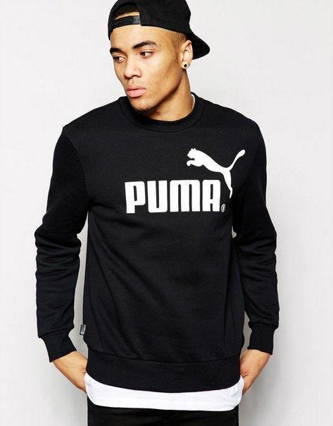 Спортивная кофта Пума, Мужская кофта Puma, черная, трикотажная, реглан, свитшот