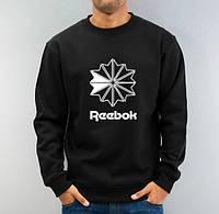 Спортивна кофта Рібок, чоловіча кофта Reebok, чорна, трикотажна, реглан, світшот