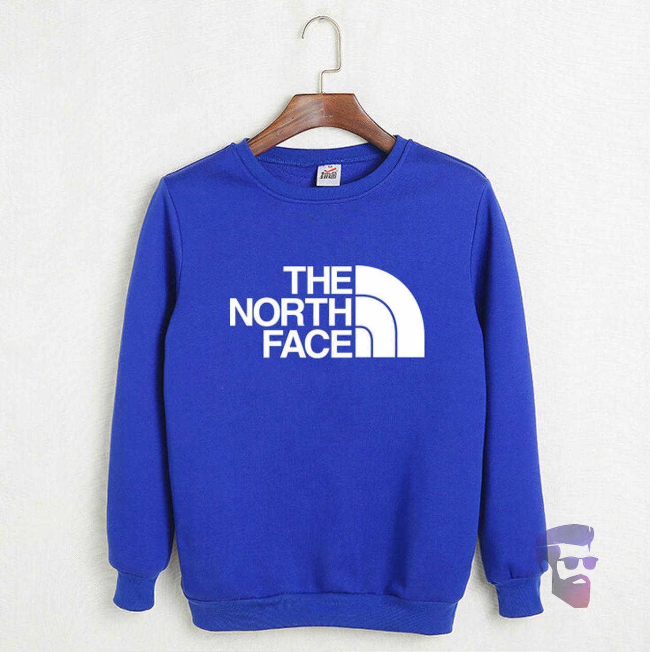 Спортивная кофта Норд Фейс, Мужская кофта The North Face электрик, светло-синяя, трикотажная, реглан, свитшот