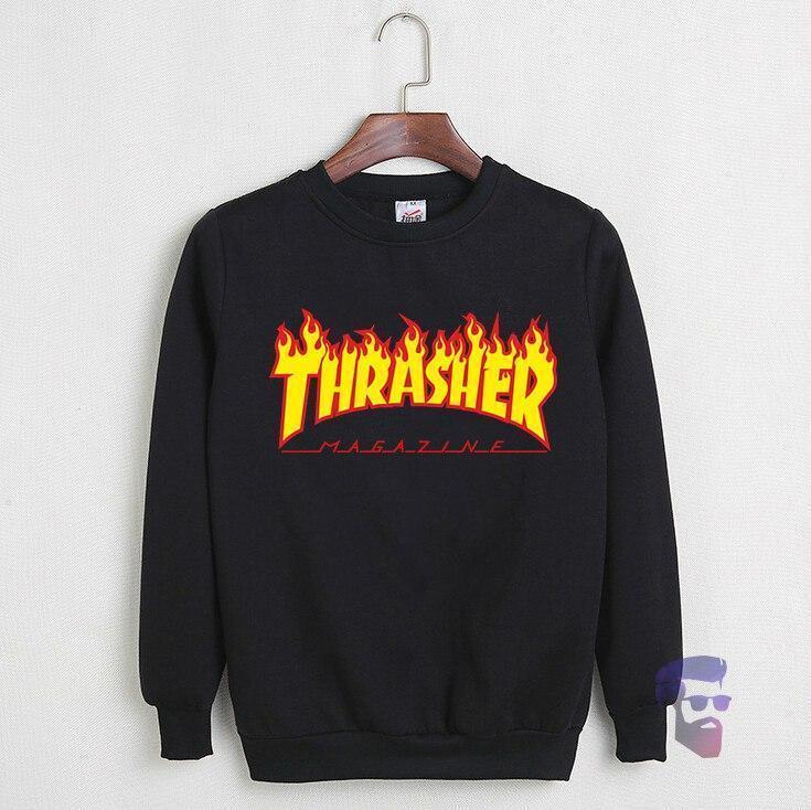 Спортивна кофта Трешер, Чоловіча кофта Thrasher, чорна, трикотажна, реглан, світшот
