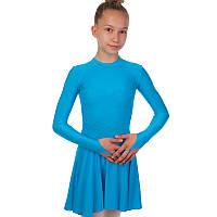 Платье рейтинговое (бейсик) с длинным рукавом и гипюровыми вставками DR-1167 размер 32-42, рост 122-164см цвета в ассортименте