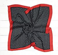 Шелковый шейный платок Вилена, горох, 70х70 см, графит/алый