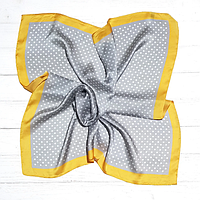 Шелковый шейный платок Вилена, горох, 70х70 см, серый/желтый