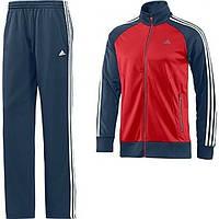 Спортивный костюм Адидас, мужской костюм Adidas, красное туловище, черные рукава, черные штаны полоски Адидас, трикотажный