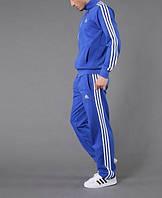 Спортивный костюм Адидас, мужской костюм Adidas, электрик, светло-синий костюм, с лампасами, трикотажный