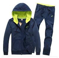 Спортивный костюм Найк, мужской костюм Nike, синий с зелеными вставками, трикотажный
