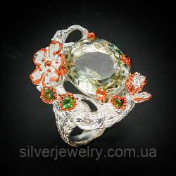 Серебряное кольцо с ПРАЗИОЛИТОМ (зеленый аметист), серебро 925 пр. Размер 17,5