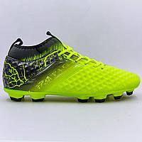 Бутсы футбольная обувь с носком 170706-3 LIME/BLACK размер 40-45 лимонный-черный