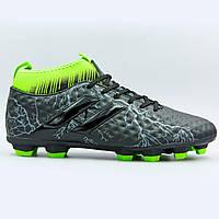 Бутсы футбольная обувь с носком 170706-4 BLACK/L.GREEN размер 40-45 черный-салатовый