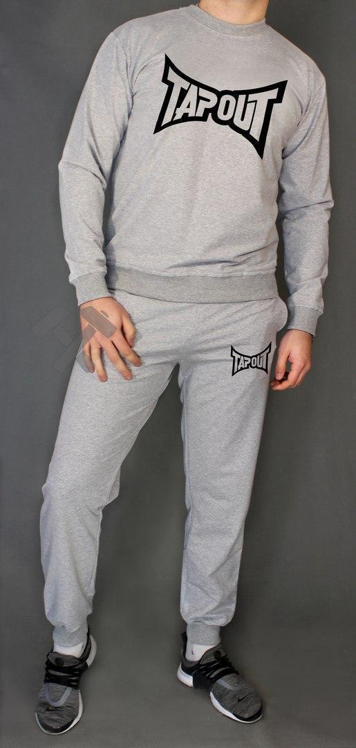 Спортивный костюм Тапаут, мужской костюм Tapout серый, трикотажный
